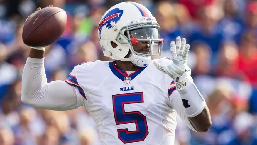 ORCHARD PARK, NY - AUGUST 29: Tyrod Taylor #5 of the Buffalo Bills throws the ball during a preseason game against the Pittsburgh Steelers on August 29, 2015 at Ralph Wilson Stadium in Orchard Park, New York. Buffalo defeats Pittsburgh 43-19. (Photo by Brett Carlsen/Getty Images)