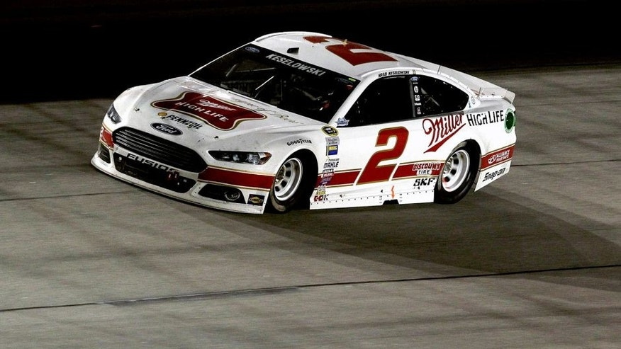 <p>DARLINGTON, SC - SEPTEMBER 06: Brad Keselowski drives the #2 Miller High Life Ford during the NASCAR Sprint Cup Series Bojangles' Southern 500 at Darlington Raceway on September 6, 2015 in Darlington, South Carolina. (Photo by Kena Krutsinger/Getty Images)<br> <br> </p>