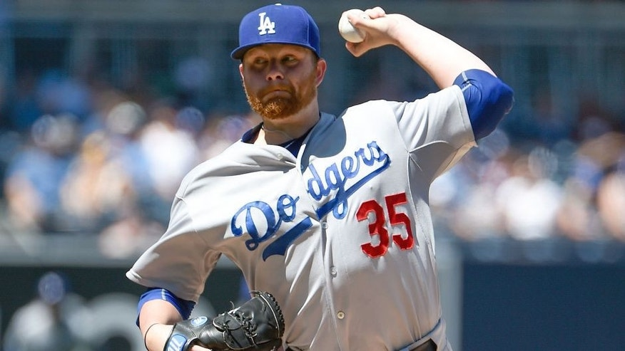 SAN DIEGO, CA - SEPTEMBER 6: Brett Anderson #35 of the Los Angeles Dodgers pitches during the first inning of a baseball game against the Los Angeles Dodgers at Petco Park September, 6, 2015 in San Diego, California. (Photo by Denis Poroy/Getty Images)