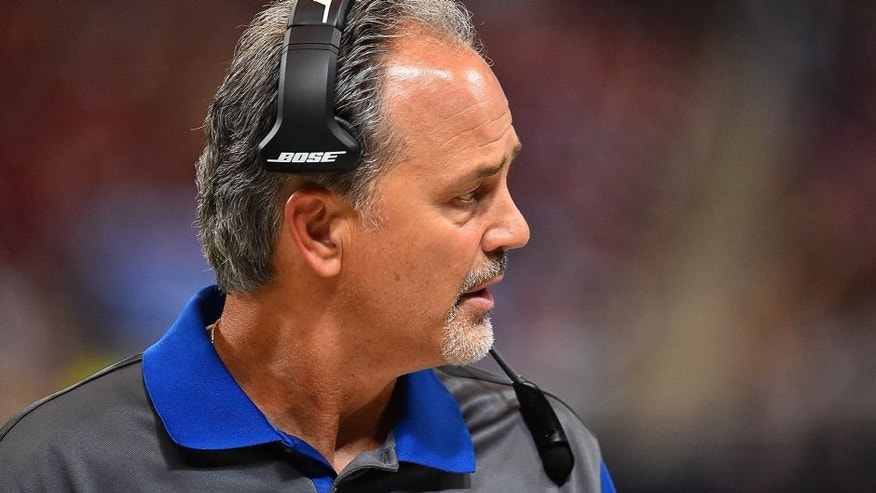Aug 29, 2015; St. Louis, MO, USA; Indianapolis Colts head coach Chuck Pagano walks the sidelines in the game against the St. Louis Rams during the second half at the Edward Jones Dome. Mandatory Credit: Jasen Vinlove-USA TODAY Sports