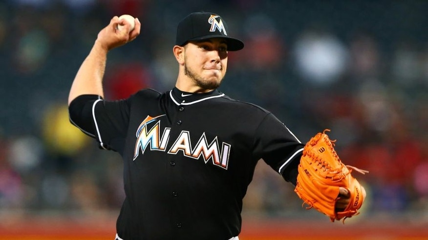 Jul 22, 2015; Phoenix, AZ, USA; Miami Marlins pitcher Jose Fernandez throws in the first inning against the Arizona Diamondbacks at Chase Field. Mandatory Credit: Mark J. Rebilas-USA TODAY Sports