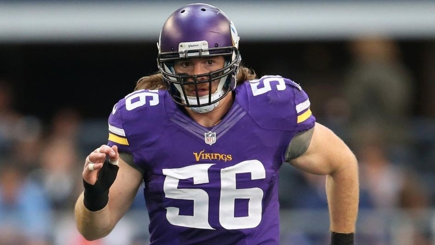 Nov 3, 2013; Arlington, TX, USA; Minnesota Vikings linebacker Michael Mauti (56) in action against the Dallas Cowboys at AT&T Stadium.
