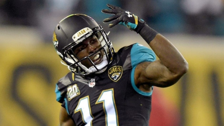 Dec 18, 2014; Jacksonville, FL, USA; Jacksonville Jaguars receiver Marqise Lee (11) reacts after a first down after a pass interference penalty in the fourth quarter against the Tennessee Titans at EverBank Field. The Jaguars defeated the Titans 21-13. Mandatory Credit: Kirby Lee-USA TODAY Sports