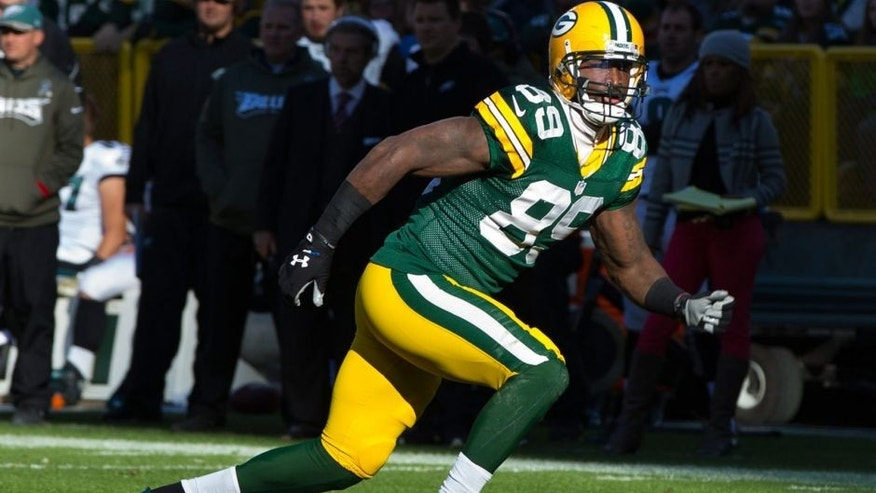 <p>Nov 10, 2013; Green Bay, WI, USA; Green Bay Packers wide receiver James Jones (89) during the game against the Philadelphia Eagles at Lambeau Field. Philadelphia won 27-13.</p>