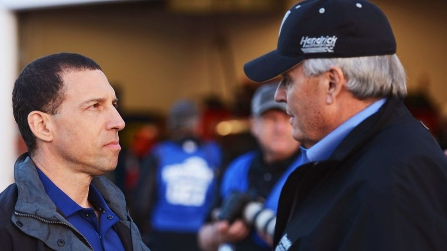 Team owners Rob Kauffman and Rick Hendrick speak during practice for the NASCAR Sprint Cup Series Sprint Unlimited at Daytona International Speedway on February 15, 2013 in Daytona Beach, Florida. (Photo by John Harrelson/NASCAR via Getty Images)