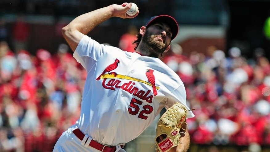 May 3, 2015; St. Louis, MO, USA; St. Louis Cardinals starting pitcher Michael Wacha (52) throws the ball against the Pittsburgh Pirates during the first inning at Busch Stadium. Mandatory Credit: Jeff Curry-USA TODAY Sports