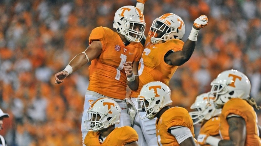 Sep 5, 2015; Nashville, TN, USA; Tennessee Volunteers running back Alvin Kamara (6) celebrates scoring a touchdown against the Bowling Green Falcons with teammate Volunteers running back Jalen Hurd (1) during the second half at Nissan Stadium. Tennessee won 59-30. Mandatory Credit: Jim Brown-USA TODAY Sports