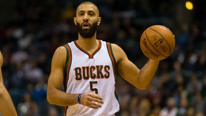 <p>Dec 3, 2014; Milwaukee, WI, USA; Milwaukee Bucks guard Kendall Marshall (5) during the game against the Dallas Mavericks at BMO Harris Bradley Center. Dallas won 107-105. Mandatory Credit: Jeff Hanisch-USA TODAY Sports</p>