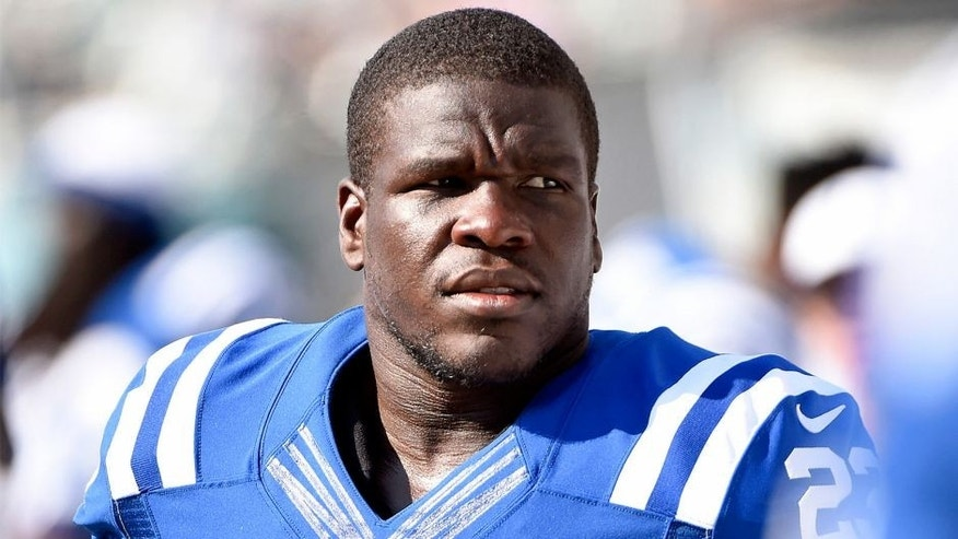 Aug 16, 2015; Philadelphia, PA, USA; Indianapolis Colts running back Frank Gore (23) on the sidelines during game against the Philadelphia Eagles in a preseason NFL football game at Lincoln Financial Field. The Eagles defeated the Colts, 36-10. Mandatory Credit: Eric Hartline-USA TODAY Sports