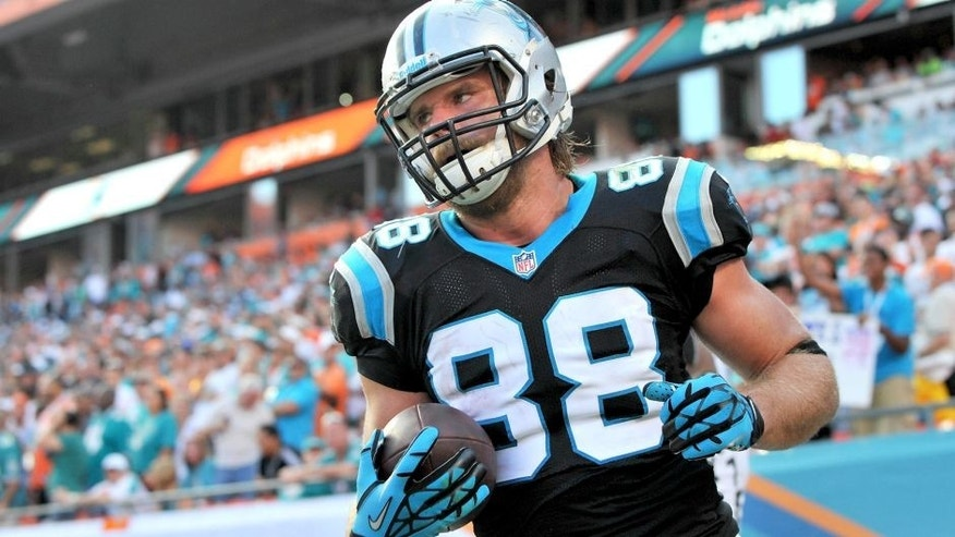 Nov 24, 2013; Miami Gardens, FL, USA; Carolina Panthers tight end Greg Olsen (88) reacts after scoring the game-winning touchdown during the fourth quarter against the Miami Dolphins at Sun Life Stadium. The Panthers won 20-16. Mandatory Credit: Steve Mitchell-USA TODAY Sports