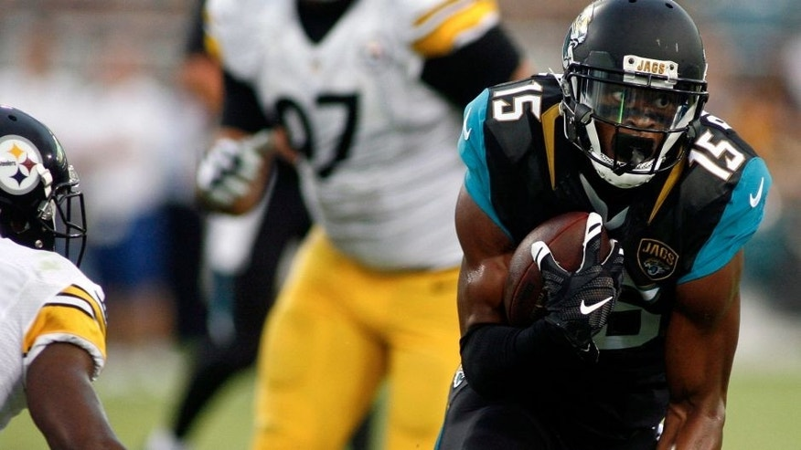Aug 14, 2015; Jacksonville, FL, USA; Jacksonville Jaguars wide receiver Allen Robinson (15) runs in the first quarter of a preseason NFL football game against the Pittsburgh Steelers at EverBank Field. Mandatory Credit: Phil Sears-USA TODAY Sports