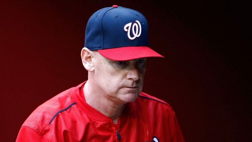 PHOENIX, AZ - MAY 12: Manager Matt Williams #9 of the Washington Nationals in the dugout during the MLB game against the Arizona Diamondbacks at Chase Field on May 12, 2015 in Phoenix, Arizona. (Photo by Christian Petersen/Getty Images)