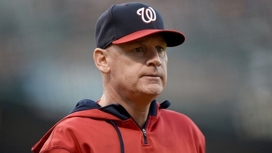 SAN FRANCISCO, CA - AUGUST 15: Manager Matt Williams #9 of the Washington Nationals looks on as he walks back to the dugout after discussing a call with the home plate umpire against the San Francisco Giants in the top of the second inning at AT&T Park on August 15, 2015 in San Francisco, California. (Photo by Thearon W. Henderson/Getty Images)