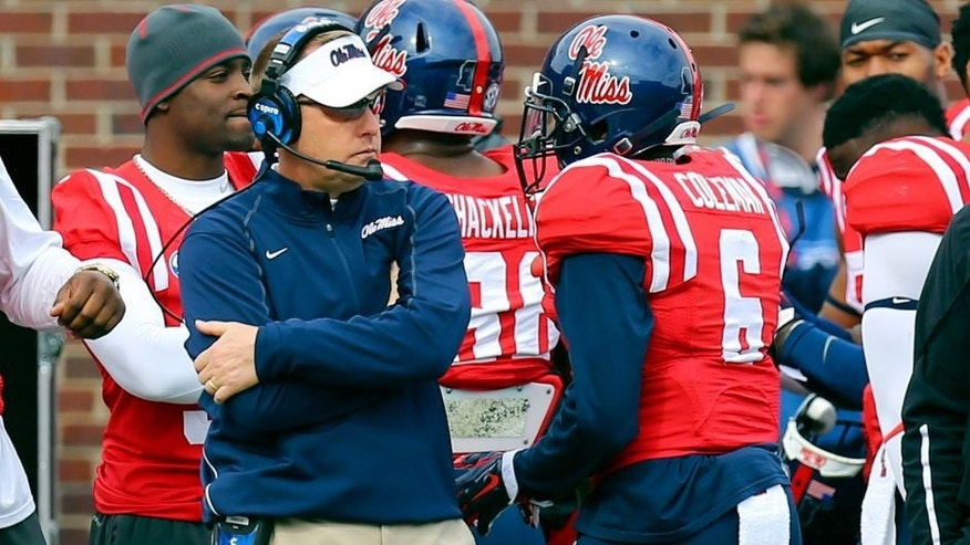 Nov 8, 2014; Oxford, MS, USA; Mississippi Rebels head coach Hugh Freeze during the game against the Presbyterian Blue Hose at Vaught-Hemingway Stadium. Mandatory Credit: Spruce Derden-USA TODAY Sports