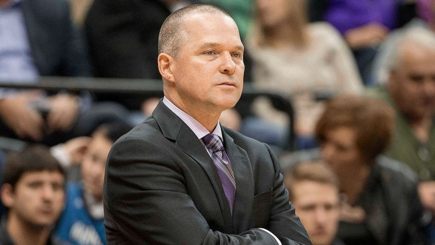 Nov 22, 2014; Minneapolis, MN, USA; Sacramento Kings head coach Michael Malone looks on during the second half against the Minnesota Timberwolves at Target Center. The Kings won 113-101. Mandatory Credit: Jesse Johnson-USA TODAY Sports