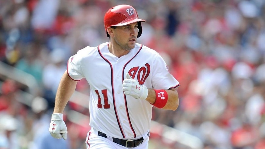 WASHINGTON, DC - AUGUST 30: Ryan Zimmerman #11 of the Washington Nationals runs to first base against the Miami Marlins at Nationals Park on August 30, 2015 in Washington, DC. (Photo by G Fiume/Getty Images)