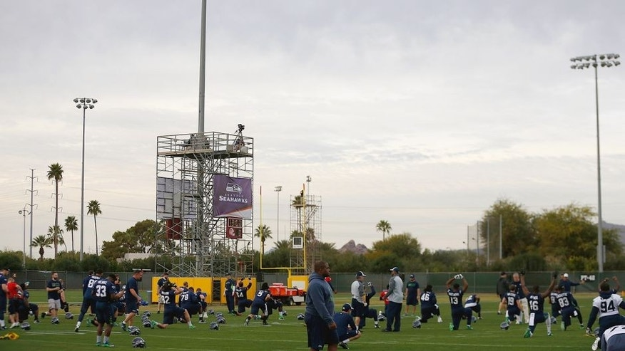 TEMPE, AZ - JANUARY 28: General view of the Seattle Seahawks team practice at Arizona State University on January 28, 2015 in Tempe, Arizona. (Photo by Christian Petersen/Getty Images)