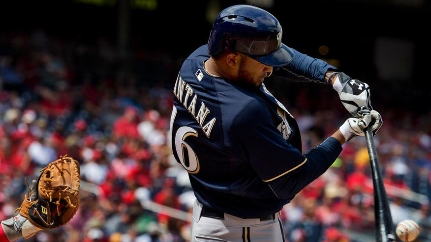 Sunday, Aug. 23: The Milwaukee Brewers' Domingo Santana hits the ball in the second inning against the Washington Nationals.