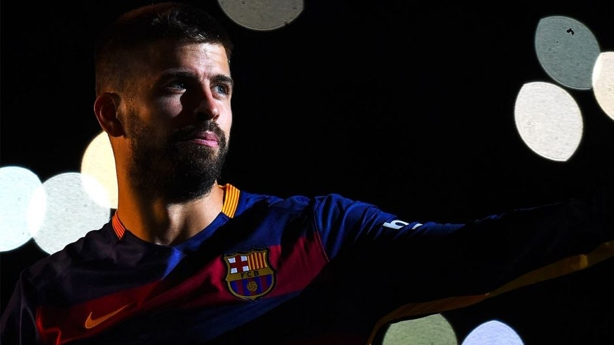 BARCELONA, SPAIN - AUGUST 05: Gerard Pique of FC Barcelona looks on during the team official presentation ahead of the Joan Gamper trophy match at Camp Nou on August 5, 2015 in Barcelona, Spain. (Photo by David Ramos/Getty Images)