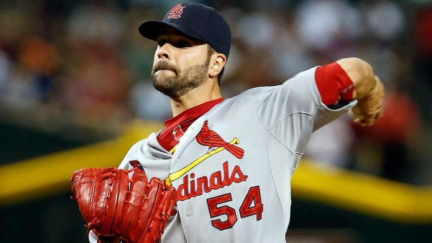St. Louis Cardinals starting pitcher Jaime Garcia throws in the first inning during a baseball game against the Arizona Diamondbacks, Tuesday, Aug. 25, 2015, in Phoenix. (AP Photo/Rick Scuteri)