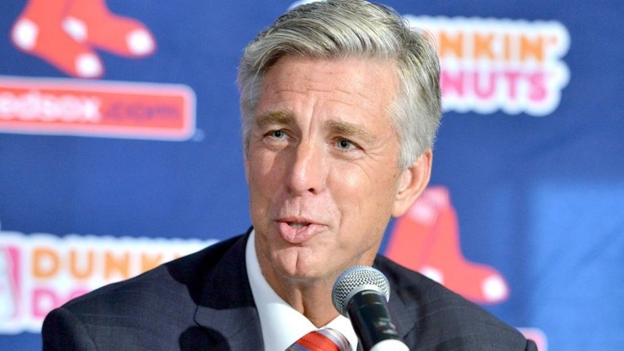 CORRECTS TITLE TO PRESIDENT OF BASEBALL OPERATIONS, NOT PRESIDENT - Dave Dombrowski, the Boston Red Sox new president of baseball operations, speaks to reporters after being introduced at a baseball news conference Wednesday, Aug. 19, 2015, at Fenway Park in Boston. (AP Photo/Josh Reynolds)