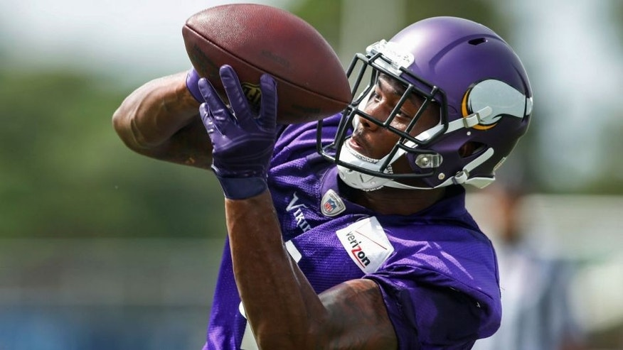 <p>Jul 27, 2015; Mankato, MN, USA; Minnesota Vikings wide receiver Stefon Diggs (14) catches a pass in drills at training camp at Minnesota State University. Mandatory Credit: Bruce Kluckhohn-USA TODAY Sports</p>