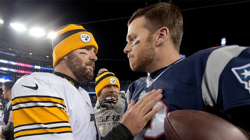 FOXBOROUGH, MA - NOVEMBER 3: New England Patriots quarterback Tom Brady shakes hands with Pittsburgh Steelers quarterback Ben Roethlisberger after the Patriots defeated the Steelers 55-31 in an NFL regular season game at Gillette Stadium on Sunday, Nov. 3, 2013. (Photo by Matthew J. Lee/The Boston Globe via Getty Images)