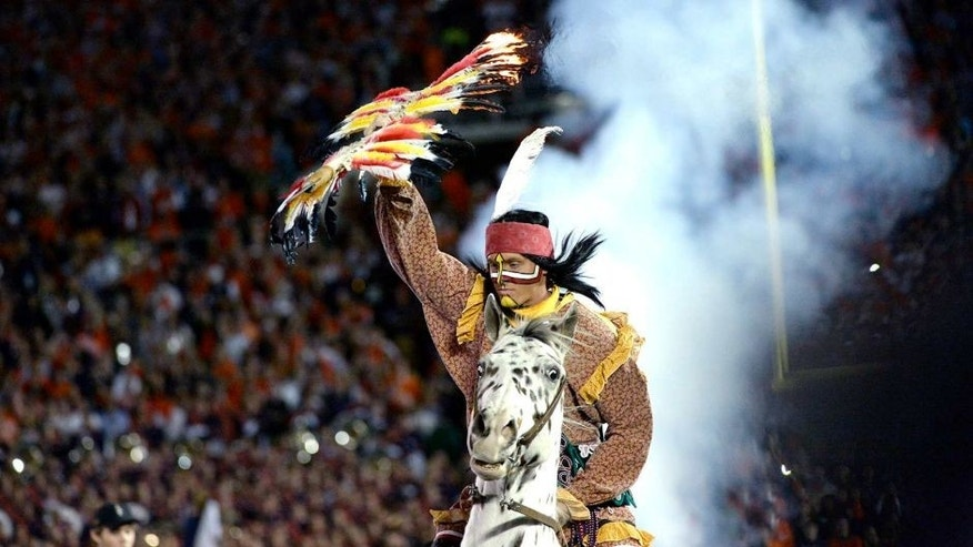 Jan 6, 2014; Pasadena, CA, USA; The Florida State Seminoles mascot enters the field before the first half of the 2014 BCS National Championship game against Auburn Tigers at the Rose Bowl. Mandatory Credit: Richard Mackson-USA TODAY Sports