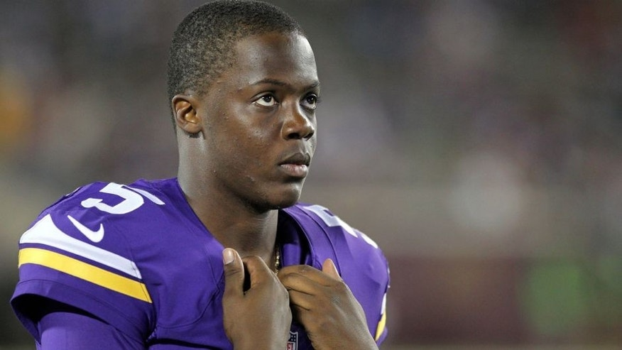 <p>Aug 8, 2014; Minneapolis, MN, USA; Minnesota Vikings quarterback Teddy Bridgewater (5) looks on during the fourth quarter against the Oakland Raiders at TCF Bank Stadium. The Vikings defeated the Raiders 10-6. Mandatory Credit: Brace Hemmelgarn-USA TODAY Sports</p>