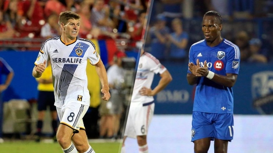 Aug 15, 2015; Dallas, TX, USA; Los Angeles Galaxy midfielder Steven Gerrard (8) during the match against FC Dallas at Toyota Stadium. Mandatory Credit: Kevin Jairaj-USA TODAY Sports Sep 5, 2015; Montreal, Quebec, CAN; Montreal Impact forward Didier Drogba (11) celebrates his goal against Chicago Fire during the second half at the Sade Saputo. Mandatory Credit: Jean-Yves Ahern-USA TODAY Sports
