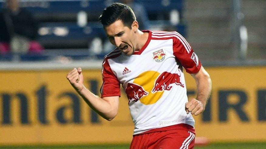 Aug 26, 2015; Chicago, IL, USA; New York Red Bulls midfielder Sacha Kljestan (16) reacts after scoring a goal against the Chicago Fire during the first half at Toyota Park. Mandatory Credit: Mike DiNovo-USA TODAY Sports