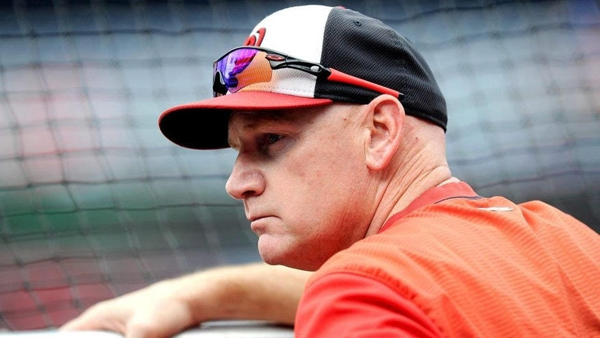WASHINGTON, DC - JULY 06: Manager Matt Williams #9 of the Washington Nationals watches batting practice before the game against the Cincinnati Reds at Nationals Park on July 6, 2015 in Washington, DC. (Photo by Greg Fiume/Getty Images)