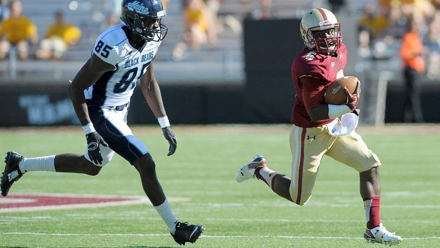 Sep 5, 2015; Boston, MA, USA; Boston College Eagles wide receiver Sherman Alston (6) runs with the ball while Maine Black Bears wide receiver Jared Osumah (85) gives chase during the second half at Alumni Stadium. Mandatory Credit: Bob DeChiara-USA TODAY Sports