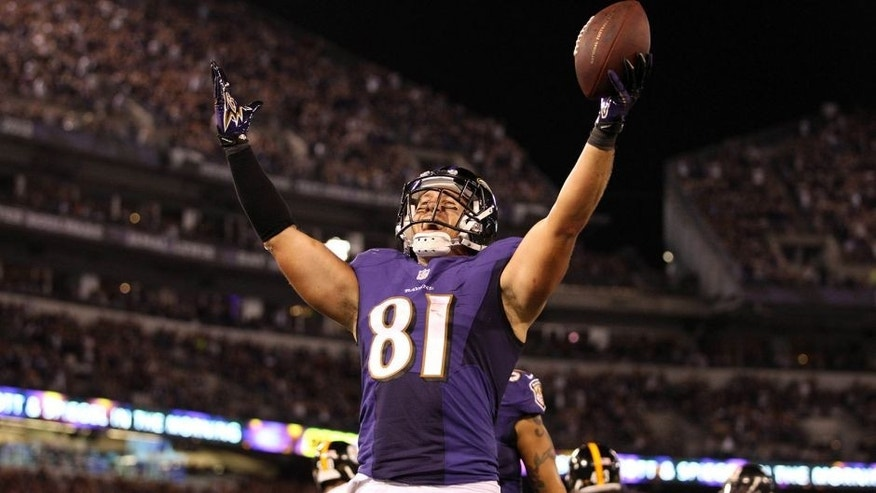 Sep 11, 2014; Baltimore, MD, USA; Baltimore Ravens tight end Owen Daniels (81) celebrates catching a touchdown pass from quarterback Joe Flacco (not shown) in the third quarter against the Pittsburgh Steelers at M&T Bank Stadium. Mandatory Credit: Mitch Stringer-USA TODAY Sports