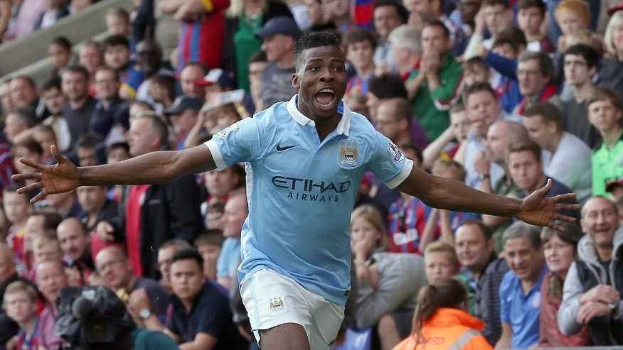 Manchester City's Kelechi Iheanacho celebrates after scoring a goal during the English Premier League soccer match between Crystal Palace and Manchester City at Selhurst Park, London, Saturday, Sept. 12, 2015. (AP Photo/Tim Ireland)