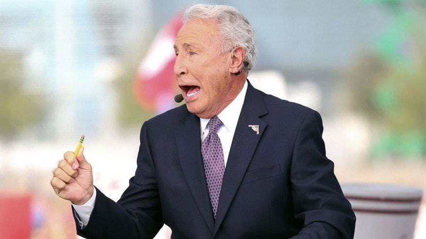 Sep 1, 2012; Arlington, TX, USA; ESPN analyst Lee Corso on the set of ESPN College Gameday before the game between the Alabama Crimson Tide and the Michigan Wolverines at Cowboys Stadium. Mandatory Credit: Kevin Jairaj-USA TODAY Sports
