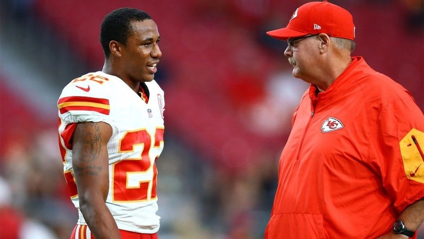 Aug 15, 2015; Glendale, AZ, USA; Kansas City Chiefs cornerback Marcus Peters (left) with head coach Andy Reid prior to the game against the Arizona Cardinals during a preseason NFL football game at University of Phoenix Stadium. Mandatory Credit: Mark J. Rebilas-USA TODAY Sports
