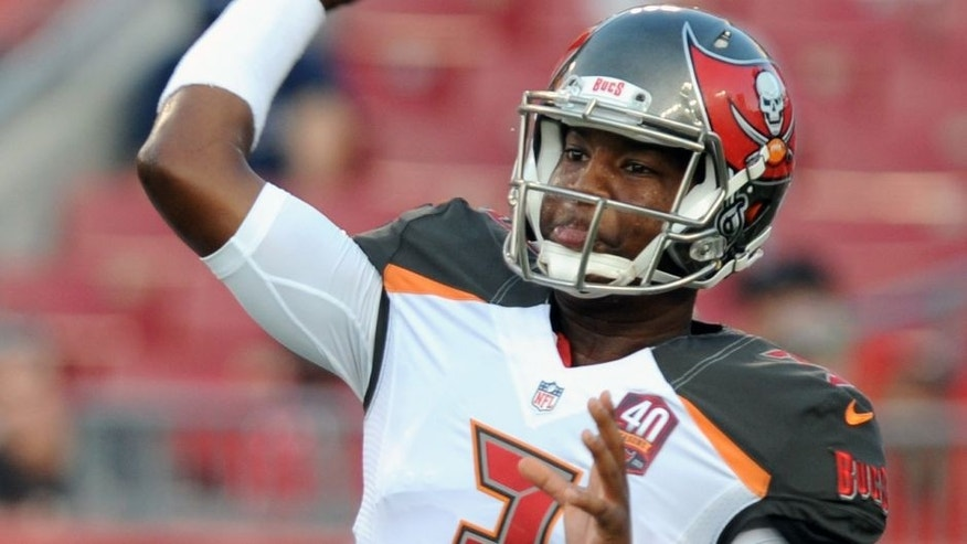 TAMPA, FL - AUGUST 24: Quarterback Jameis Winston #3 of the Tampa Bay Buccaneers throws the ball during warmups at Raymond James Stadium on August 24, 2015 in Tampa, Florida. (Photo by Cliff McBride/Getty Images)