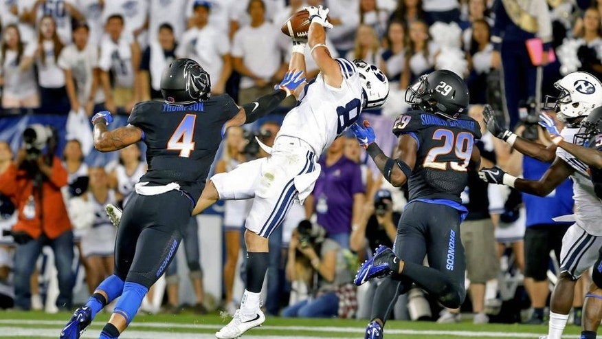 Sep 12, 2015; Provo, UT, USA; Brigham Young Cougars wide receiver Mitchell Juergens (87) scores the go ahead touchdown against the Boise State Broncos in the fourth quarter at Lavell Edwards Stadium. Brigham Young won 35-24. Mandatory Credit: Chris Nicoll-USA TODAY Sports