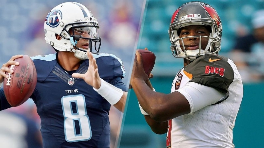 NASHVILLE, TN - SEPTEMBER 03: Quarterback Marcus Mariota #8 of the Tennessee Titans looks for a receiver during a NFL pre-season game against the Minnesota Vikings at Nissan Stadium on September 3, 2015 in Nashville, Tennessee. (Photo by Ronald C. Modra/Sports Imagery/Getty Images) MIAMI GARDENS, FL - SEPTEMBER 03: Jameis Winston #3 of the Tampa Bay Buccaneers warms up during a preseason game against the Miami Dolphins at Sun Life Stadium on September 3, 2015 in Miami Gardens, Florida. (Photo by Mike Ehrmann/Getty Images)