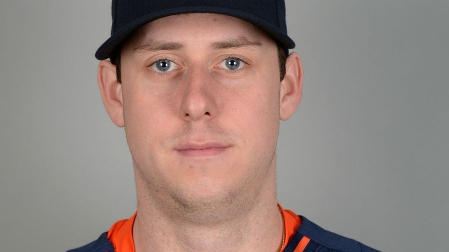 Feb 26, 2015; Kissimmee, FL, USA; Houston Astros infielder Matt Duffy poses for a picture during photo day at Osceola County Stadium Mandatory Credit: Tommy Gilligan-USA TODAY Sports
