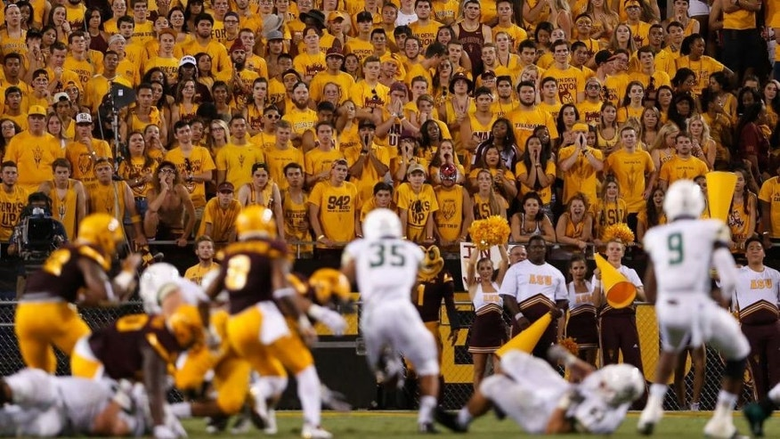 during the college football game at Sun Devil Stadium on September 12, 2015 in Tempe, Arizona.