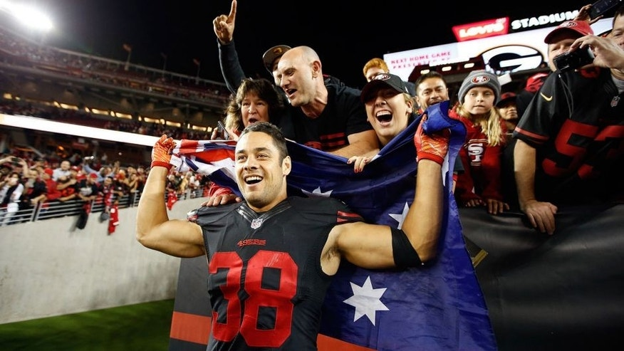 SANTA CLARA, CA - SEPTEMBER 14: Jarryd Hayne #38 of the San Francisco 49ers poses with fans after the 49ers beat the Minnesota Vikings in their NFL game at Levi's Stadium on September 14, 2015 in Santa Clara, California. (Photo by Ezra Shaw/Getty Images)