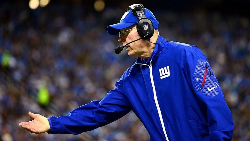 Dec 22, 2013; Detroit, MI, USA; New York Giants head coach Tom Coughlin on the sidelines during the second quarter against the Detroit Lions at Ford Field. Mandatory Credit: Andrew Weber-USA TODAY Sports