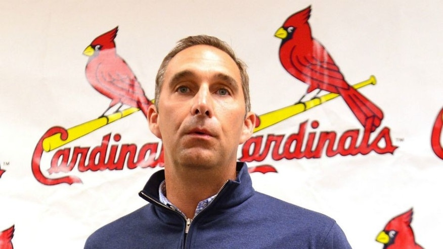 Mar 8, 2014; Jupiter, FL, USA; St. Louis Cardinals general manager John Mozeliak addresses the media during a press conference announcing a contract extension for Cardinals third baseman Matt Carpenter (13) at Roger Dean Stadium. Mandatory Credit: Scott Rovak-USA TODAY Sports
