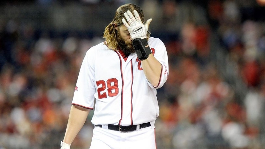 WASHINGTON, DC - AUGUST 27: Jayson Werth #28 of the Washington Nationals reacts after being tagged out against the San Diego Padres at Nationals Park on August 27, 2015 in Washington, DC. (Photo by G Fiume/Getty Images)