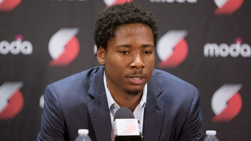 PORTLAND, OR - JULY 9: Ed Davis #17 of the Portland Trail Blazers is introduced to the media after signing with the team July 9, 2015 at the Trail Blazer Practice Facility in Portland, Oregon. NOTE TO USER: User expressly acknowledges and agrees that, by downloading and or using this photograph, User is consenting to the terms and conditions of the Getty Images License Agreement. Mandatory Copyright Notice: Copyright 2015 NBAE (Photo by Sam Forencich/NBAE via Getty Images)