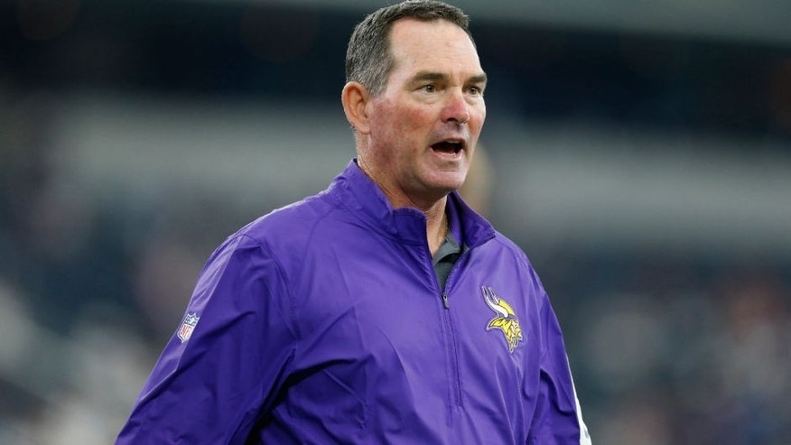 <p>Aug 29, 2015; Arlington, TX, USA; Minnesota Vikings head coach Mike Zimmer prior to the game against the Dallas Cowboys at AT&T Stadium. Mandatory Credit: Matthew Emmons-USA TODAY Sports</p>