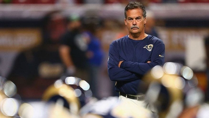 ST. LOUIS, MO - SEPTEMBER 13: Head Coach Jeff Fisher of the St. Louis Rams during warmups prior to a game against the Seattle Seahawks at the Edward Jones Dome on September 13, 2015 in St. Louis, Missouri. (Photo: Dilip Vishwanat/Getty Images)