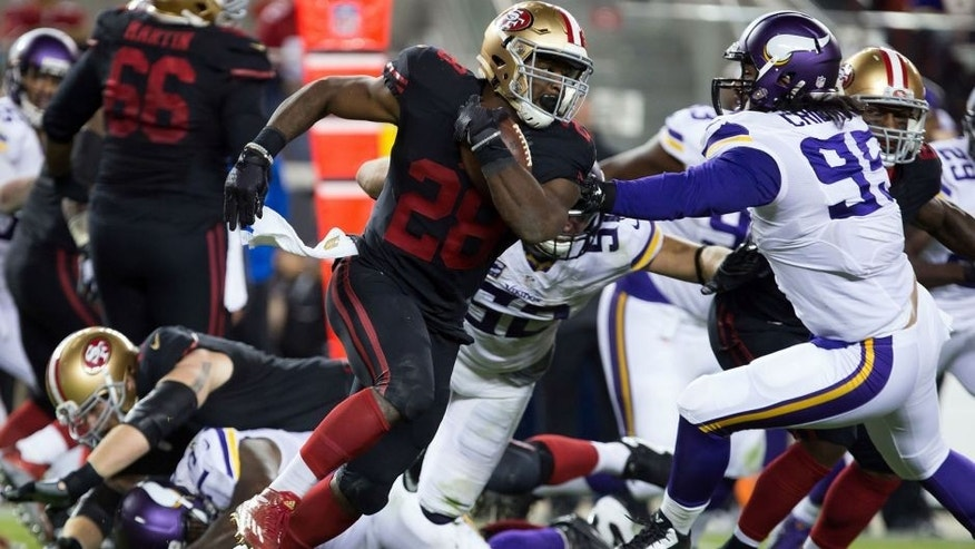 <p>Sep 14, 2015; Santa Clara, CA, USA; San Francisco 49ers running back Carlos Hyde (28) carries the ball against the Minnesota Vikings during the fourth quarter at Levi's Stadium. The San Francisco 49ers defeated the Minnesota Vikings 20-3. Mandatory Credit: Kelley L Cox-USA TODAY Sports</p>